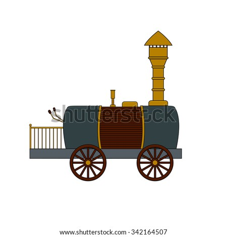 Steampunk retro locomotive in doodle style