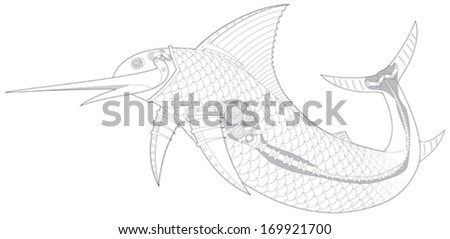 Steampunk Sailfish mechanical fish 2, vector illustration - stock vector