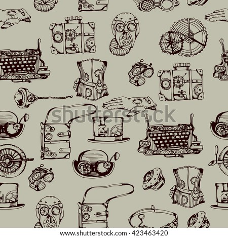 Steampunk seamless pattern, hand drawn vector illustration. Steampunk background for your design. - stock vector