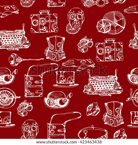 Steampunk seamless pattern, hand drawn vector illustration. Steampunk red background for your design. - stock vector