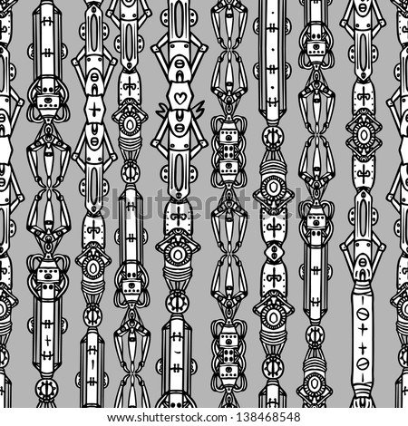 Steampunk seamless vector pattern - stock vector