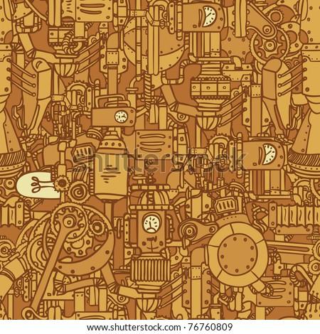 Steampunk seamless vector pattern - stock vector