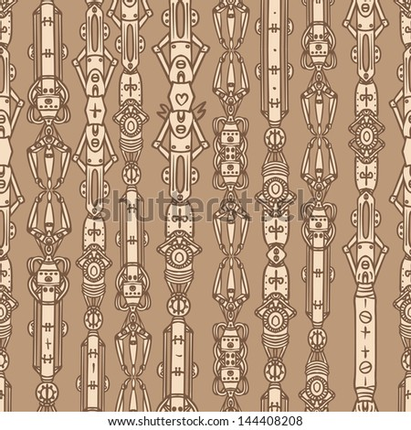 Steampunk seamless vector pattern, vector art - stock vector