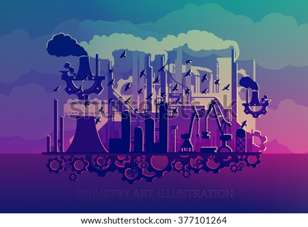 steampunk silhouette industry with the gears(vector eps10) fabulous illustration ART - stock vector