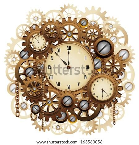 Steampunk Style Clocks Gears Stock Vector 163563056 ...