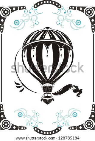 Steampunk style frame and vintage  hot air balloon - stock vector