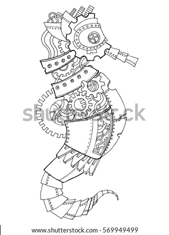 steampunk style sea horse mechanical animal stock vector