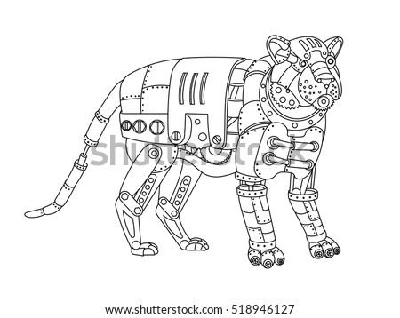 Animal color stock images royalty free images vectors Steampunk animals coloring book