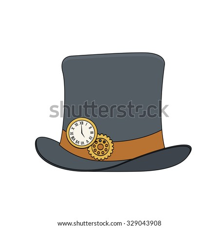 Steampunk style top hat with copper watch and gears in doodle style - stock vector