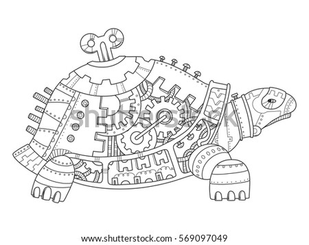 Steampunk Style Turtle Mechanical Animal Coloring Book Vector Illustration