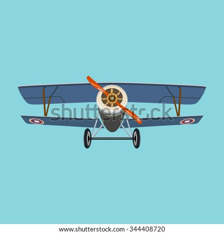 Steampunk style vintage airplane retro aviation - stock vector