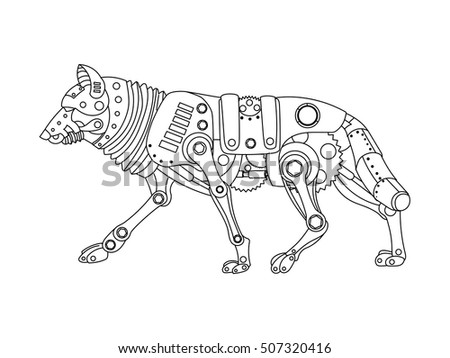 Steampunk Style Wolf Mechanical Animal Coloring Stock Photo (Photo ...