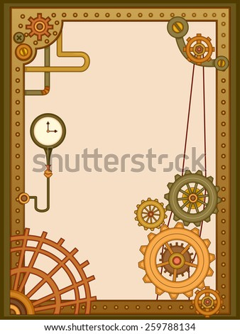 Steampunk Themed Background Illustration of Cogwheels and Gears - stock vector