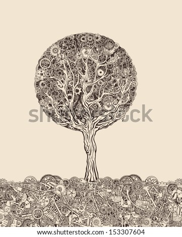 Steampunk tree - stock vector