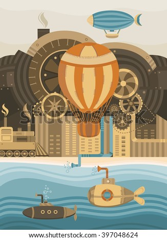 Steampunk vector background. Vintage template design for banners, cards, invitations, covers, web pages. The city in the steampunk style. Illustration of the balloon, gears, retro train. Retro style. - stock vector