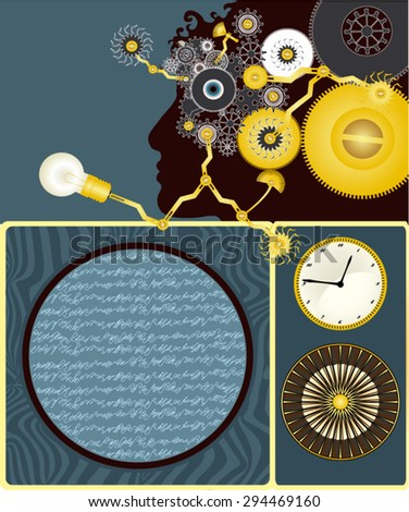 steampunk, vector, illustration,  gear, robot, robotics - stock vector