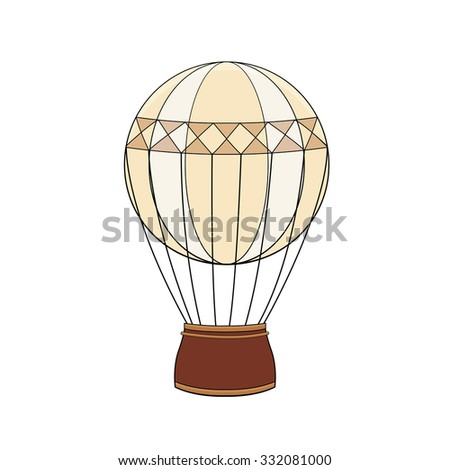 Steampunk vintage hot air balloon in doodle style - stock vector