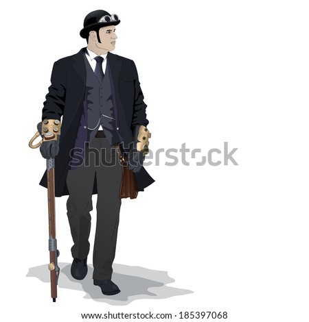 Steampunk young man on white vector detailed illustration - stock vector