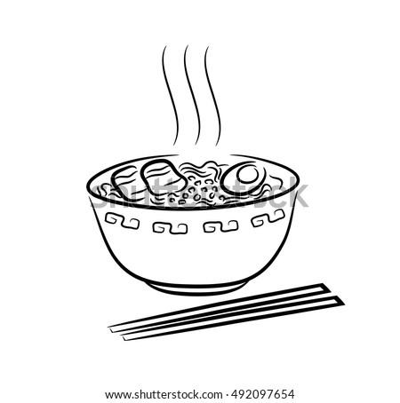 noodles bowl cartoon vector illustration black stock vector 528949960 shutterstock. Black Bedroom Furniture Sets. Home Design Ideas