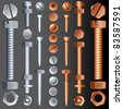 Steel and Brass Hardware, vector set of Screws, Rivets and Bolts - stock photo
