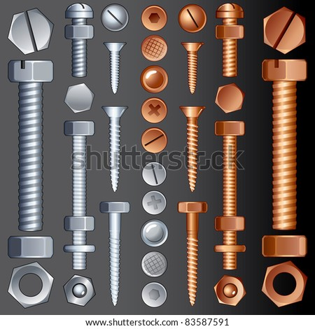 Steel and Brass Hardware, vector set of Screws, Rivets and Bolts - stock vector