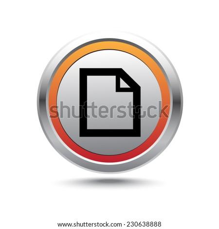 Steel button file vector icon - stock vector