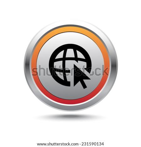 Steel button go to web vector icon - stock vector