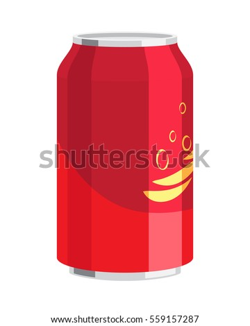 Steel can of drink vector illustration. Inside could be water, coca-cola, alcohol, juice, sparkling water. Can be bought in different shops, bars or storehouses for celebration of any holidays.