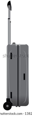 Steel case on wheels with retractable handle. Vector illustration. - stock vector