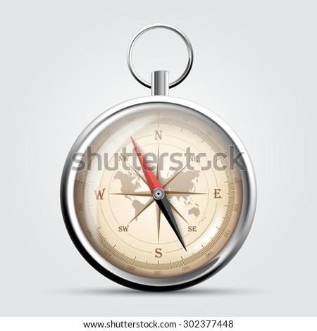 Steel compass with wind rose and map. Vector Illustration - stock vector