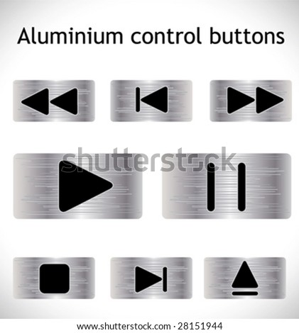 Steel control buttons. Vector. - stock vector