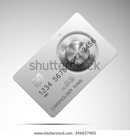 steel credit card with a combination lock on the front side - stock vector
