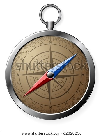 Steel detailed compass isolated on white (vector) - stock vector