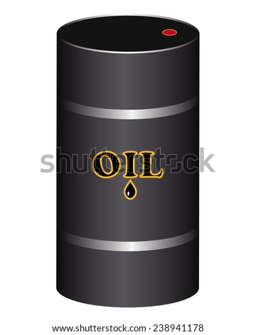 steel drums for storage of oil on a white background - stock vector