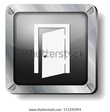 steel exit door icon - stock vector