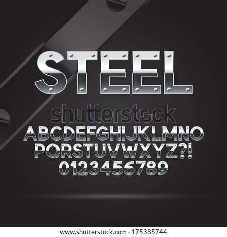 Steel Font and Numbers, Eps 10 Vector, Editable for any Background  - stock vector