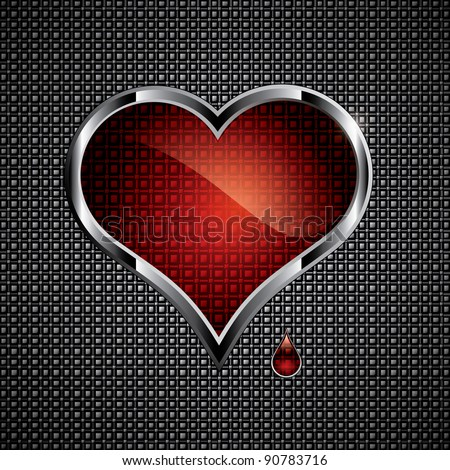 Steel heart button on metallic background.Love concept - stock vector