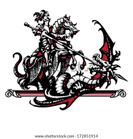 Steel knight and dragon in four colors on a white background - stock vector