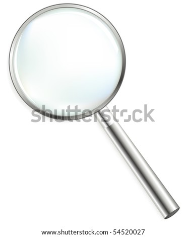 Steel Magnifier, Isolated On White - stock vector