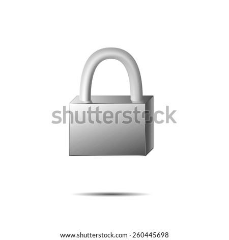 Steel padlock, vector illustration - stock vector