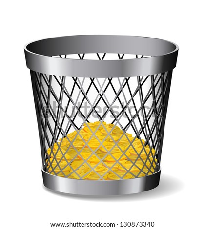 Steel paper bin with gold coins is on white background.