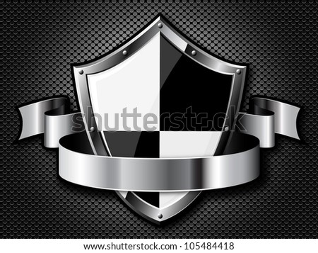 Steel shield with ribbon over steel dotted background. Vector EPS10. Transparency is used to create shadows. - stock vector