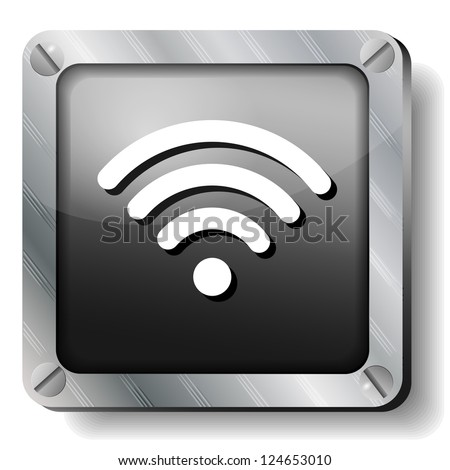 steel wi fi icon - stock vector