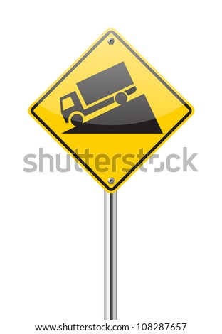 Steep Grade sign isolated on a white background