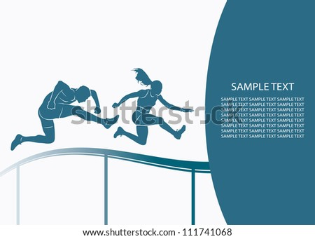 Steeplechase jump - vector background - stock vector