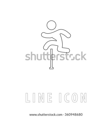 Steeplechase Outline simple vector icon on white background. Line pictogram with text  - stock vector