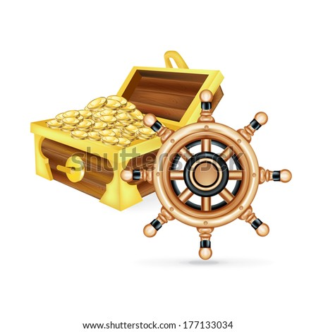 steering ship wheel and treasure chest isolated on white background - stock vector