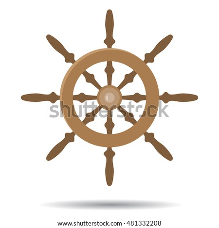 Steering vessel wooden. Steering wheel and ship steering. Vector illustration