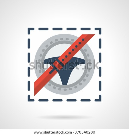 Steering wheel and red seat belt. Driver safety. Traffic laws sign. Car insurance. Vector icon flat color style. Web design element for site, mobile and business. - stock vector