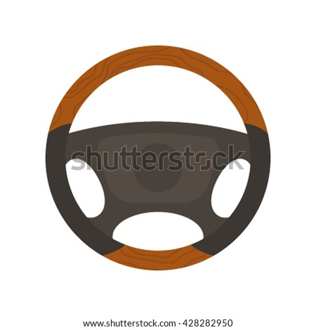 Steering wheel control icon in the flat style isolated on white background. Vector illustration